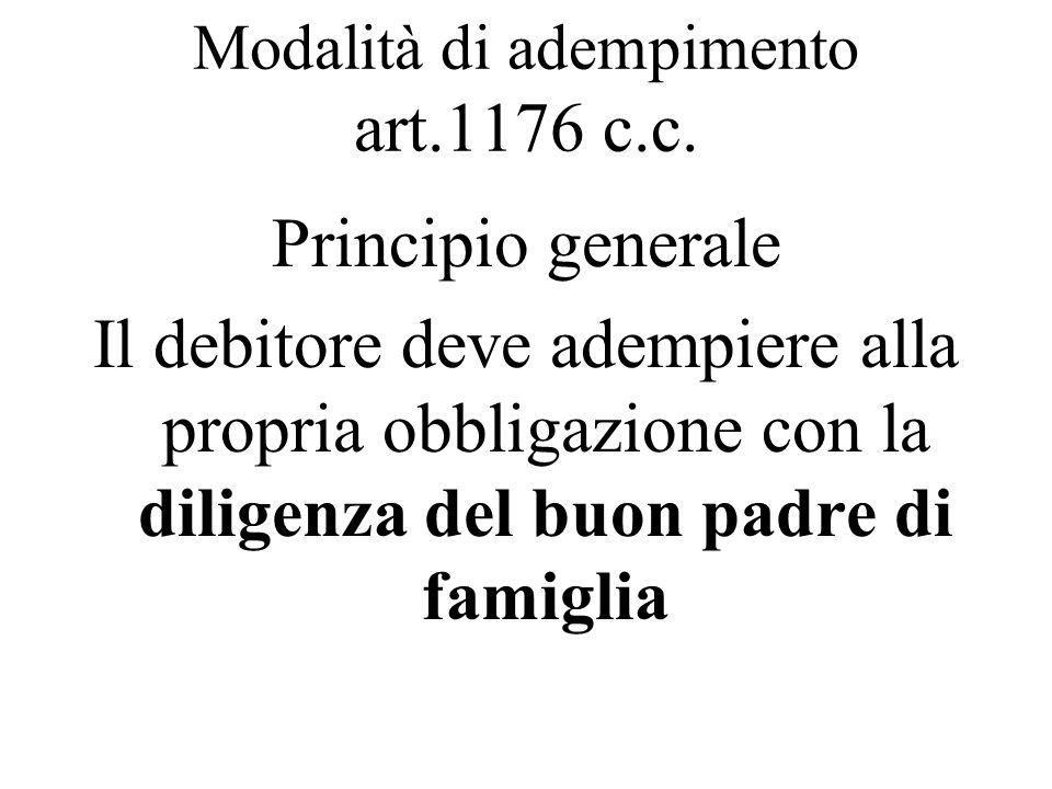 Modalità di adempimento art.1176 c.c. Principio generale Il debitore deve adempiere alla propria obbligazione con la diligenza del buon padre di famig