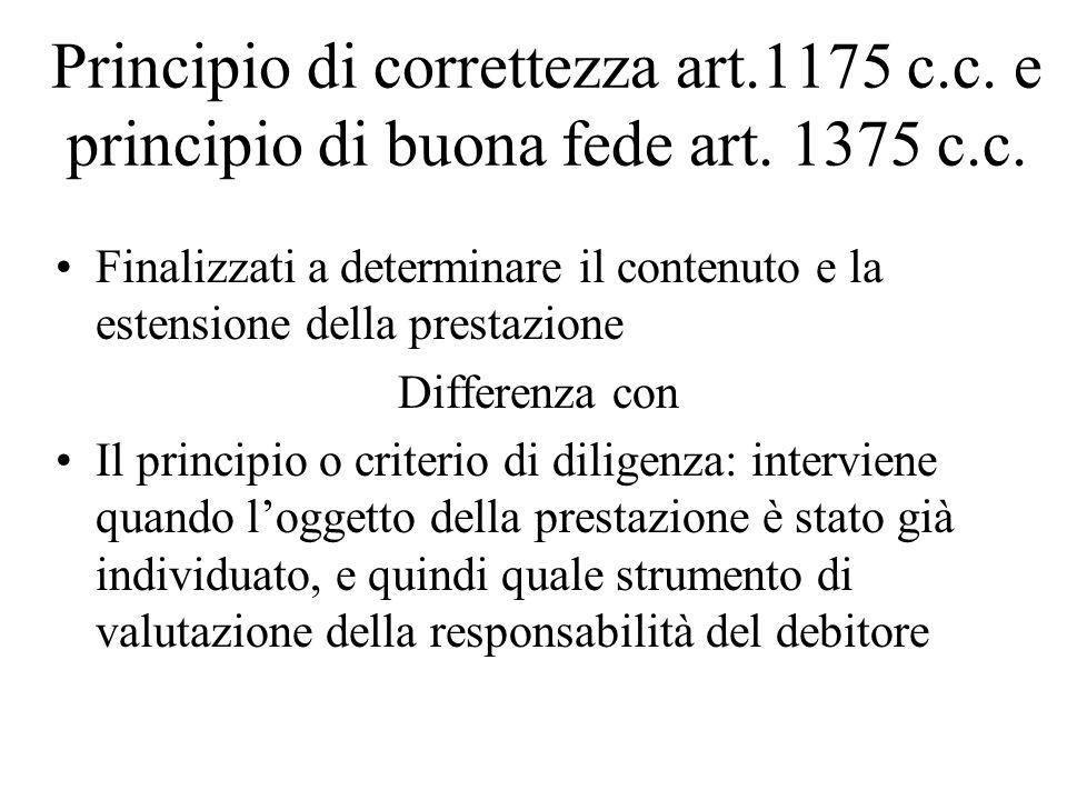Principio di correttezza art.1175 c.c. e principio di buona fede art. 1375 c.c. Finalizzati a determinare il contenuto e la estensione della prestazio