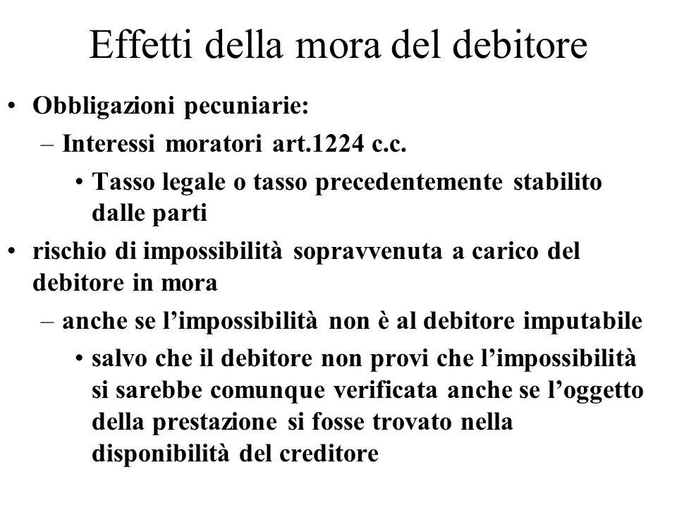 Effetti della mora del debitore Obbligazioni pecuniarie: –Interessi moratori art.1224 c.c. Tasso legale o tasso precedentemente stabilito dalle parti