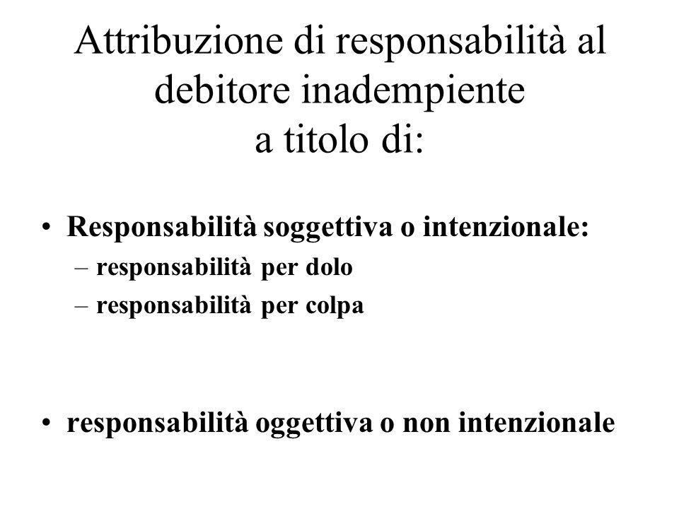 Attribuzione di responsabilità al debitore inadempiente a titolo di: Responsabilità soggettiva o intenzionale: –responsabilità per dolo –responsabilità per colpa responsabilità oggettiva o non intenzionale