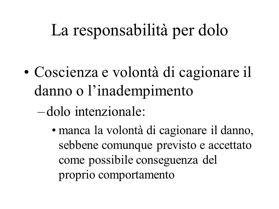 La responsabilità per dolo Coscienza e volontà di cagionare il danno o linadempimento –dolo intenzionale: manca la volontà di cagionare il danno, sebb