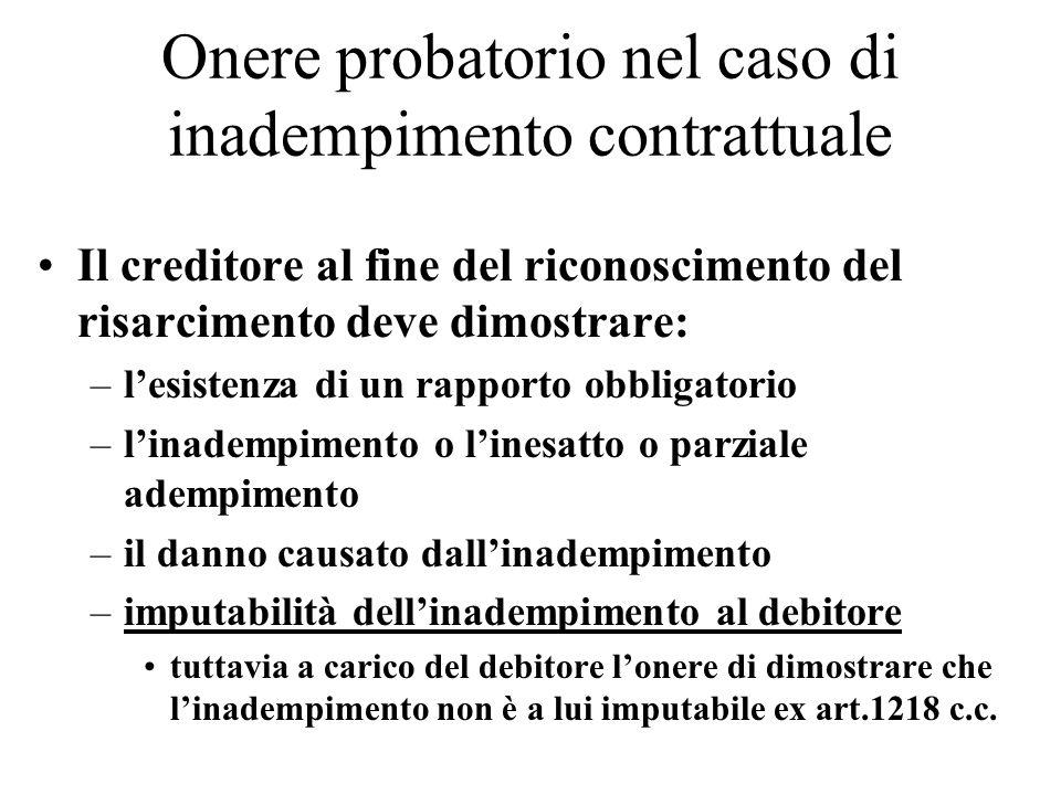 Onere probatorio nel caso di inadempimento contrattuale Il creditore al fine del riconoscimento del risarcimento deve dimostrare: –lesistenza di un ra
