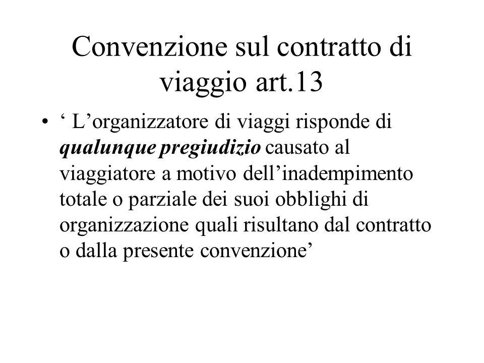 Convenzione sul contratto di viaggio art.13 Lorganizzatore di viaggi risponde di qualunque pregiudizio causato al viaggiatore a motivo dellinadempimento totale o parziale dei suoi obblighi di organizzazione quali risultano dal contratto o dalla presente convenzione