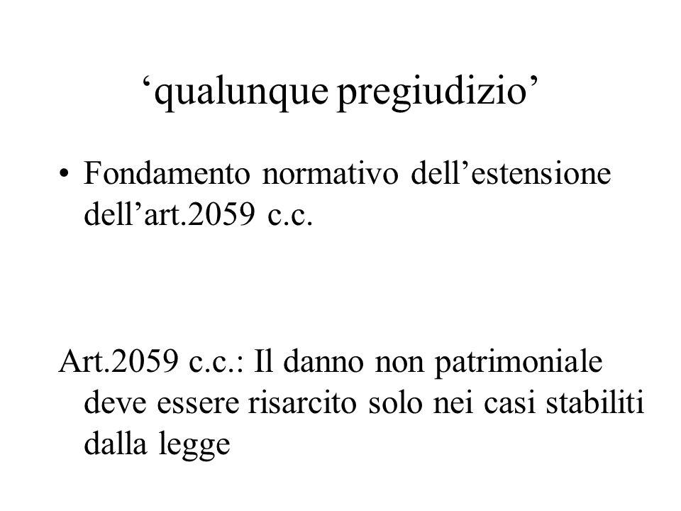 qualunque pregiudizio Fondamento normativo dellestensione dellart.2059 c.c. Art.2059 c.c.: Il danno non patrimoniale deve essere risarcito solo nei ca