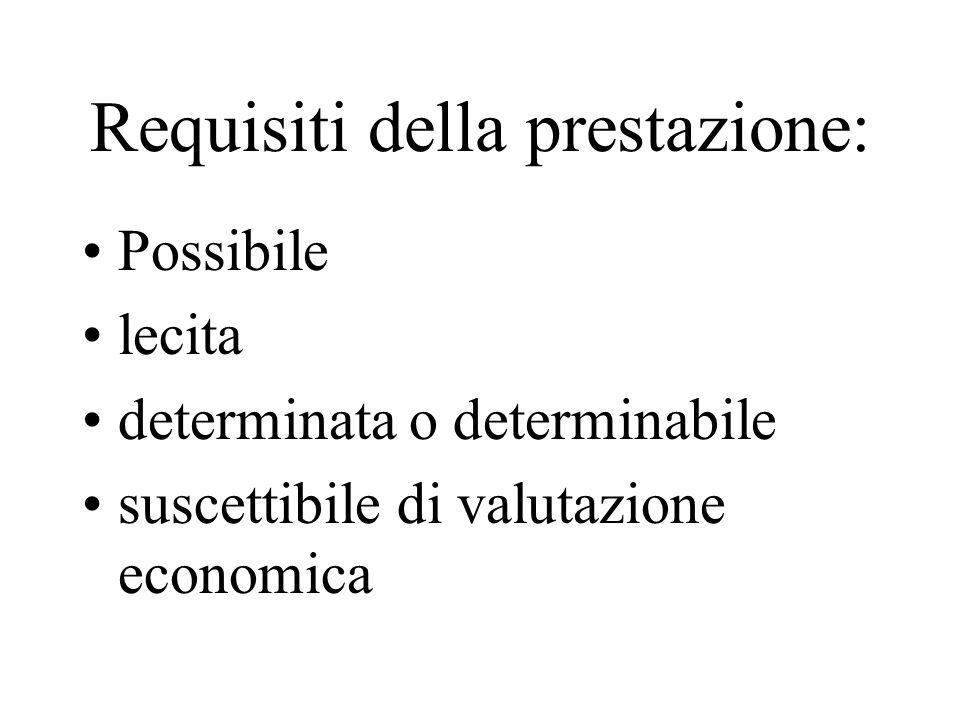 Requisiti della prestazione: Possibile lecita determinata o determinabile suscettibile di valutazione economica