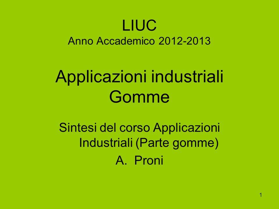 1 LIUC Anno Accademico 2012-2013 Applicazioni industriali Gomme Sintesi del corso Applicazioni Industriali (Parte gomme) A.Proni