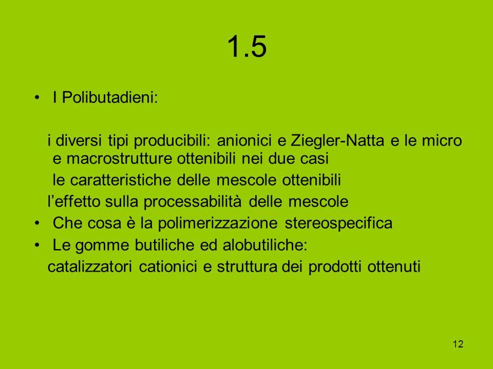 12 1.5 I Polibutadieni: i diversi tipi producibili: anionici e Ziegler-Natta e le micro e macrostrutture ottenibili nei due casi le caratteristiche de