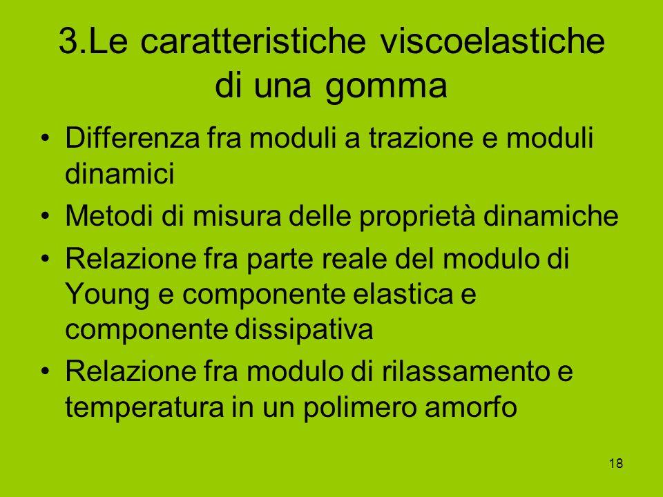 18 3.Le caratteristiche viscoelastiche di una gomma Differenza fra moduli a trazione e moduli dinamici Metodi di misura delle proprietà dinamiche Rela