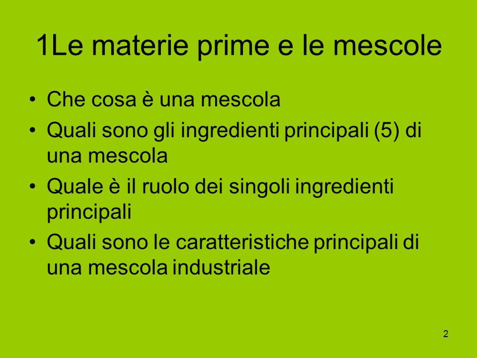 2 1Le materie prime e le mescole Che cosa è una mescola Quali sono gli ingredienti principali (5) di una mescola Quale è il ruolo dei singoli ingredie