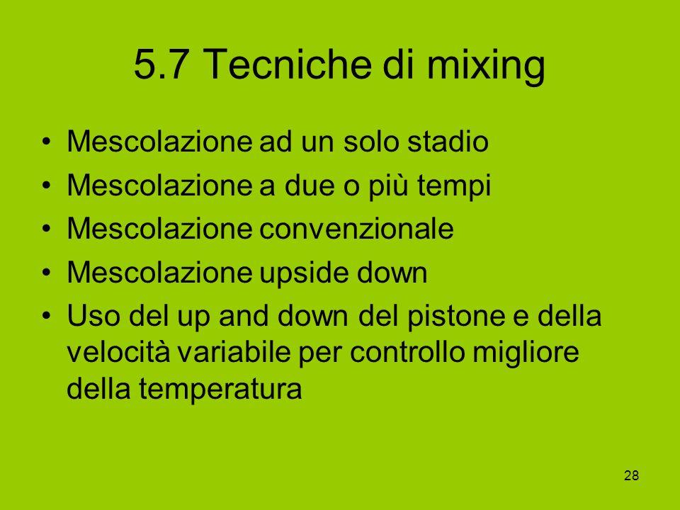 28 5.7 Tecniche di mixing Mescolazione ad un solo stadio Mescolazione a due o più tempi Mescolazione convenzionale Mescolazione upside down Uso del up
