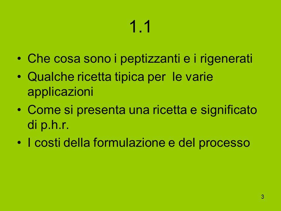 3 1.1 Che cosa sono i peptizzanti e i rigenerati Qualche ricetta tipica per le varie applicazioni Come si presenta una ricetta e significato di p.h.r.