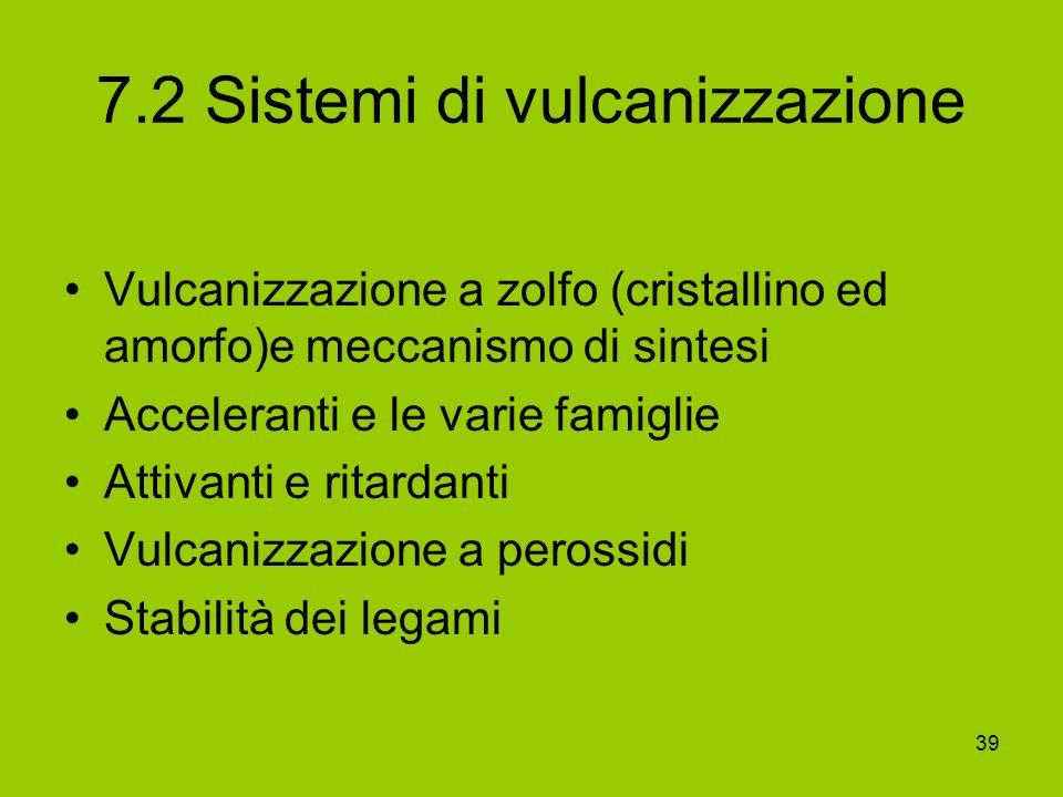 39 7.2 Sistemi di vulcanizzazione Vulcanizzazione a zolfo (cristallino ed amorfo)e meccanismo di sintesi Acceleranti e le varie famiglie Attivanti e r