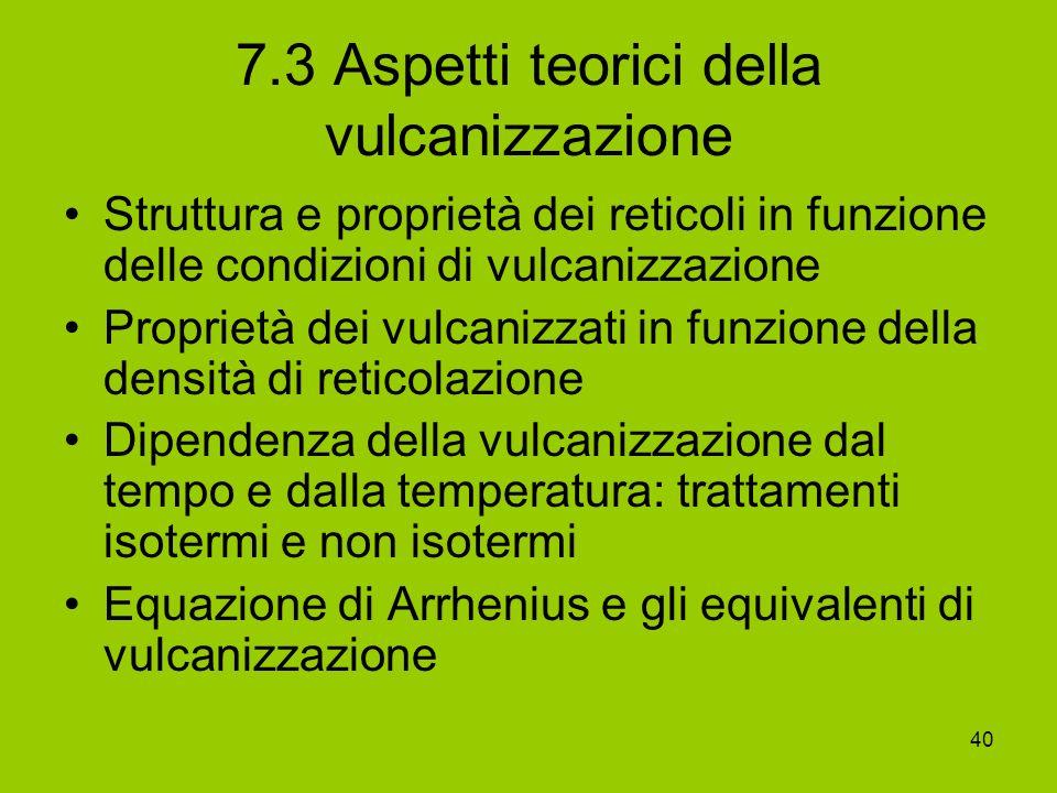 40 7.3 Aspetti teorici della vulcanizzazione Struttura e proprietà dei reticoli in funzione delle condizioni di vulcanizzazione Proprietà dei vulcaniz