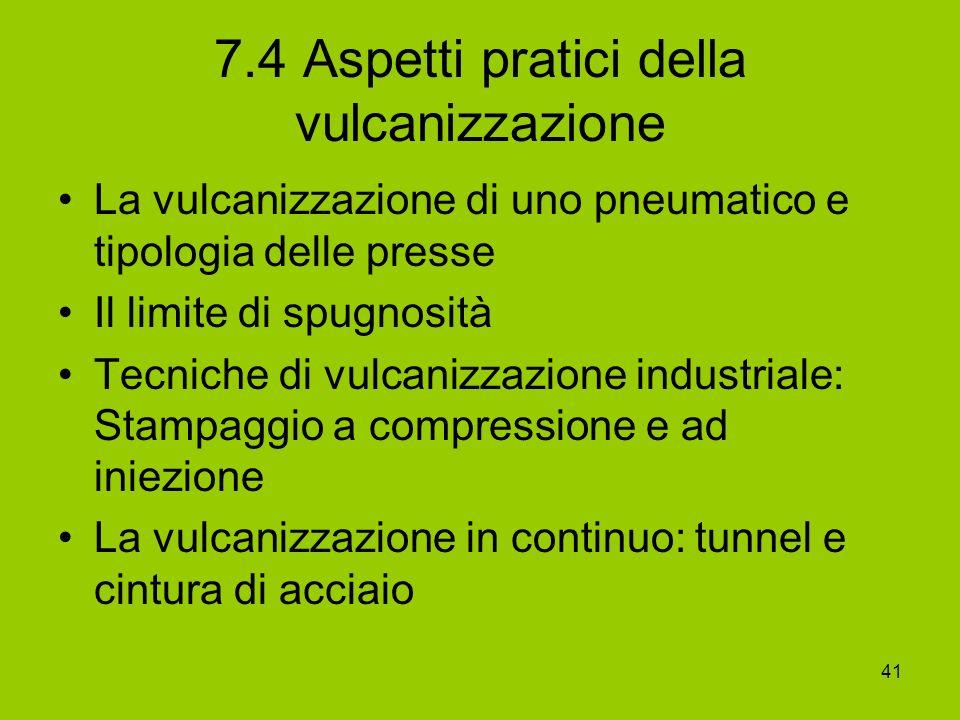 41 7.4 Aspetti pratici della vulcanizzazione La vulcanizzazione di uno pneumatico e tipologia delle presse Il limite di spugnosità Tecniche di vulcani