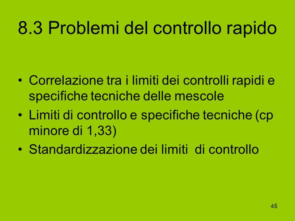 45 8.3 Problemi del controllo rapido Correlazione tra i limiti dei controlli rapidi e specifiche tecniche delle mescole Limiti di controllo e specific