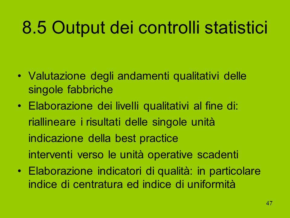 47 8.5 Output dei controlli statistici Valutazione degli andamenti qualitativi delle singole fabbriche Elaborazione dei livelli qualitativi al fine di