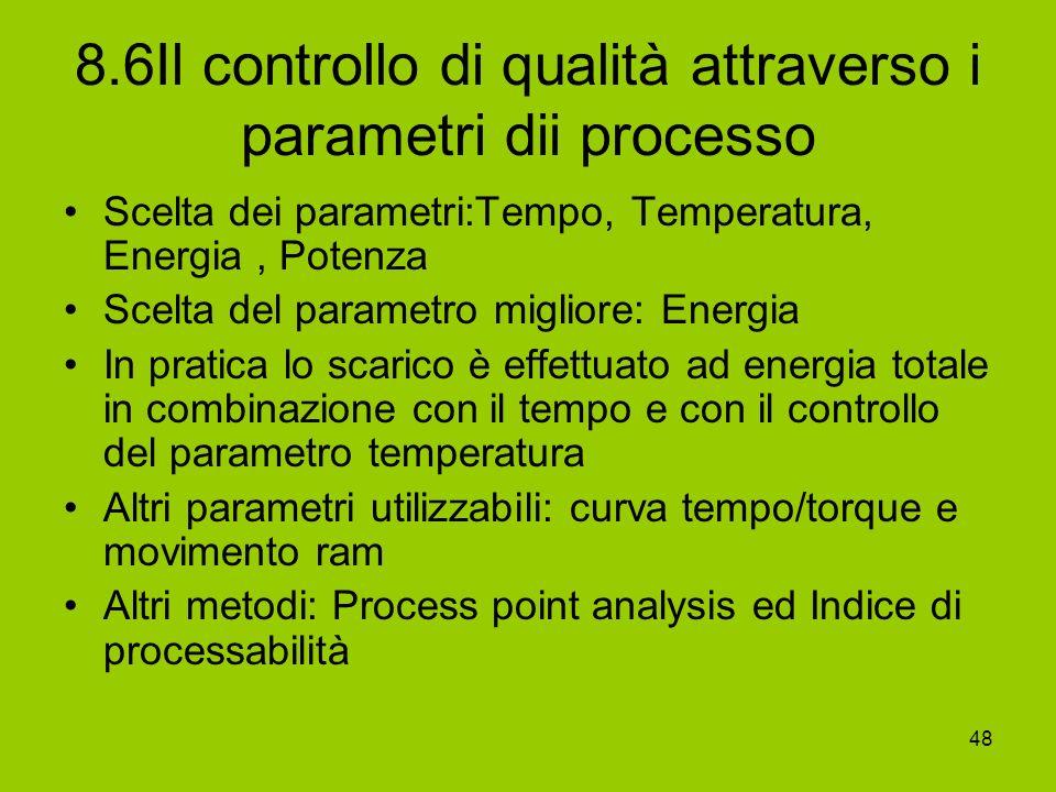 48 8.6Il controllo di qualità attraverso i parametri dii processo Scelta dei parametri:Tempo, Temperatura, Energia, Potenza Scelta del parametro migli