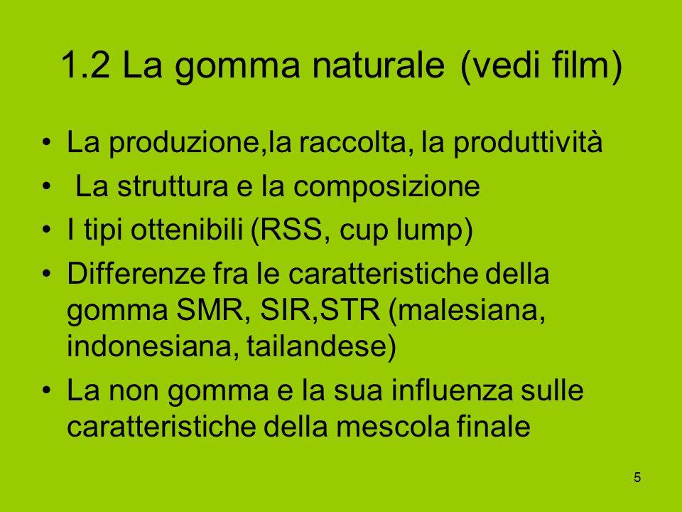 5 1.2 La gomma naturale (vedi film) La produzione,la raccolta, la produttività La struttura e la composizione I tipi ottenibili (RSS, cup lump) Differ