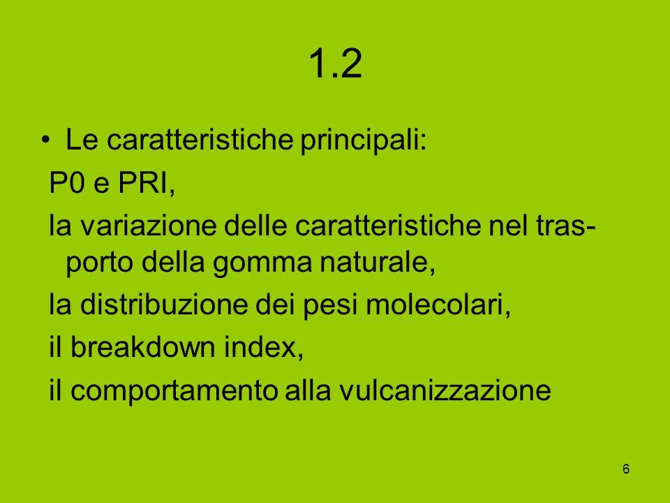 6 1.2 Le caratteristiche principali: P0 e PRI, la variazione delle caratteristiche nel tras- porto della gomma naturale, la distribuzione dei pesi mol