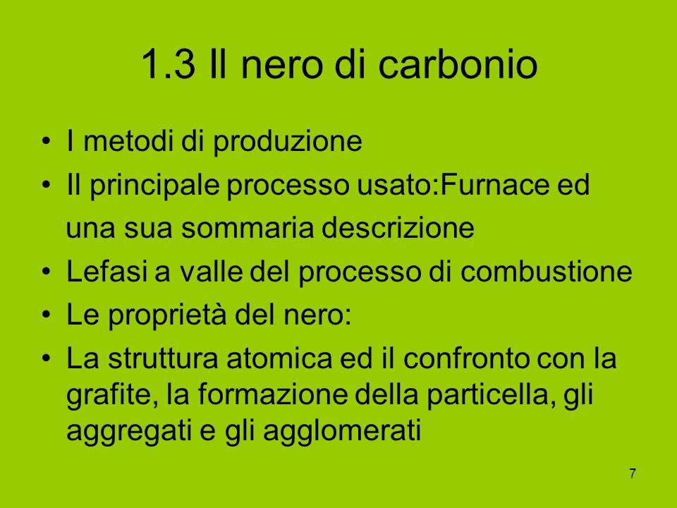 7 1.3 Il nero di carbonio I metodi di produzione Il principale processo usato:Furnace ed una sua sommaria descrizione Lefasi a valle del processo di c