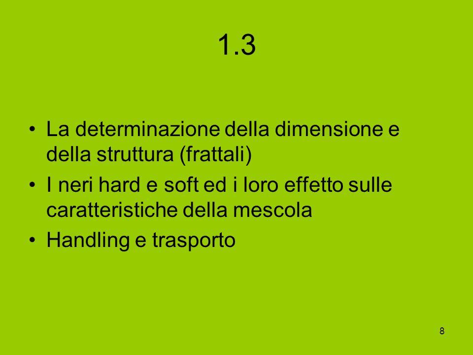 8 1.3 La determinazione della dimensione e della struttura (frattali) I neri hard e soft ed i loro effetto sulle caratteristiche della mescola Handlin