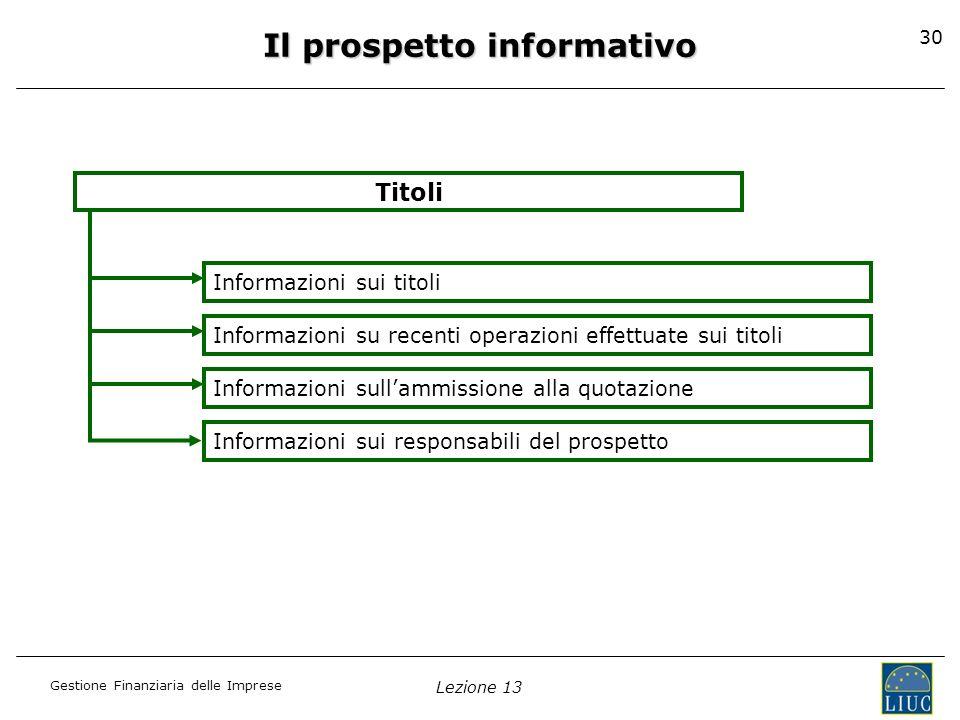 Gestione Finanziaria delle Imprese Lezione 13 30 Il prospetto informativo Titoli Informazioni sui titoli Informazioni su recenti operazioni effettuate