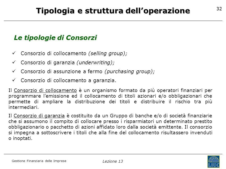 Gestione Finanziaria delle Imprese Lezione 13 32 Tipologia e struttura delloperazione Le tipologie di Consorzi Consorzio di collocamento (selling grou