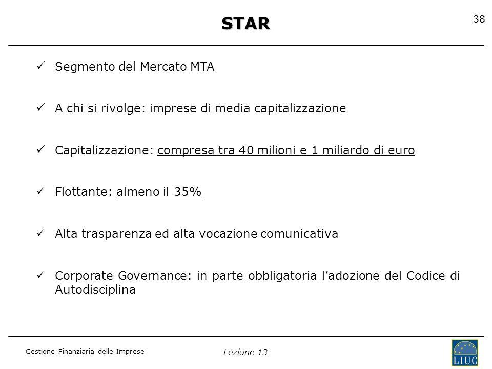 Gestione Finanziaria delle Imprese Lezione 13 38STAR Segmento del Mercato MTA A chi si rivolge: imprese di media capitalizzazione Capitalizzazione: co