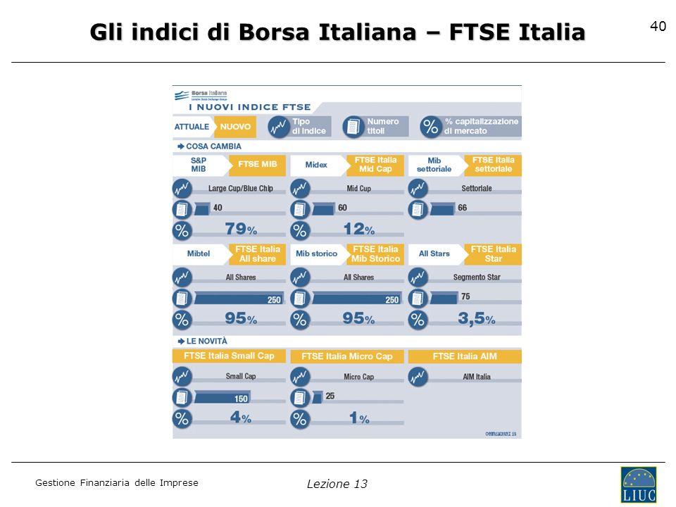 Gestione Finanziaria delle Imprese Lezione 13 40 Gli indici di Borsa Italiana – FTSE Italia
