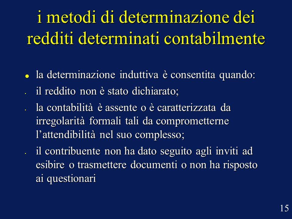 i metodi di determinazione dei redditi determinati contabilmente la determinazione induttiva è consentita quando: la determinazione induttiva è consen