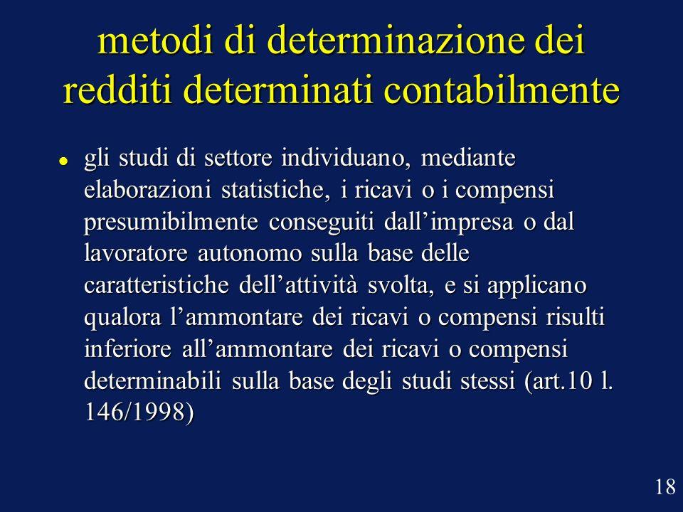 metodi di determinazione dei redditi determinati contabilmente gli studi di settore individuano, mediante elaborazioni statistiche, i ricavi o i compe