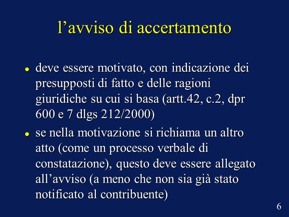 lavviso di accertamento deve essere motivato, con indicazione dei presupposti di fatto e delle ragioni giuridiche su cui si basa (artt.42, c.2, dpr 60