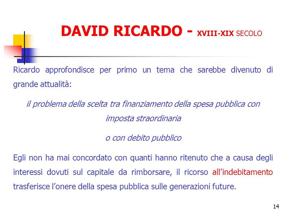 14 Ricardo approfondisce per primo un tema che sarebbe divenuto di grande attualità: il problema della scelta tra finanziamento della spesa pubblica c