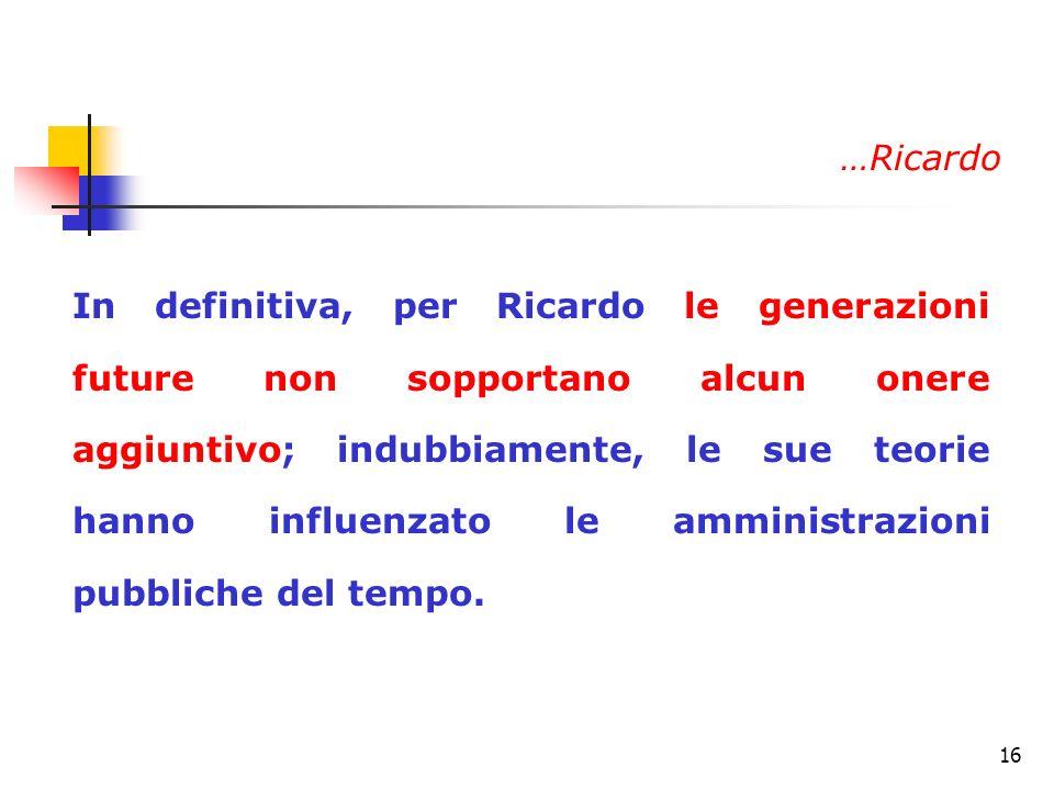 16 In definitiva, per Ricardo le generazioni future non sopportano alcun onere aggiuntivo; indubbiamente, le sue teorie hanno influenzato le amministr