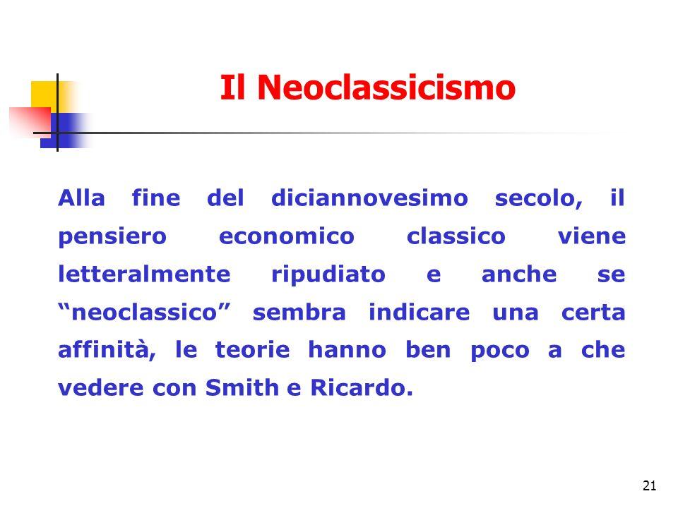 21 Alla fine del diciannovesimo secolo, il pensiero economico classico viene letteralmente ripudiato e anche se neoclassico sembra indicare una certa