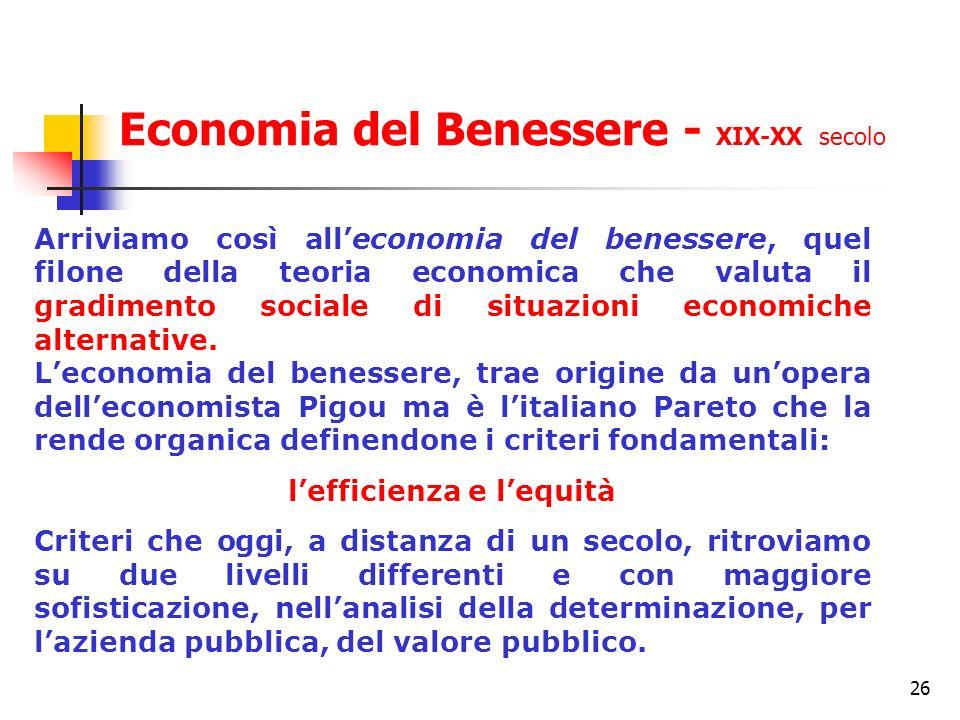 26 Arriviamo così alleconomia del benessere, quel filone della teoria economica che valuta il gradimento sociale di situazioni economiche alternative.