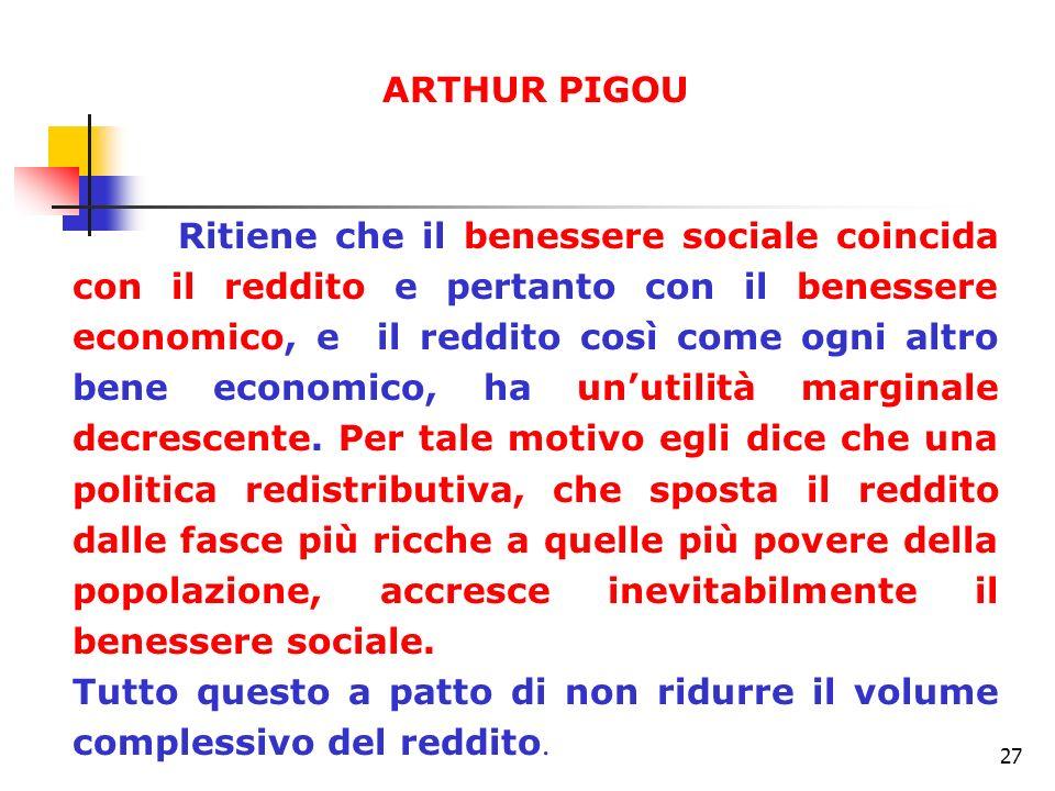27 ARTHUR PIGOU Ritiene che il benessere sociale coincida con il reddito e pertanto con il benessere economico, e il reddito così come ogni altro bene