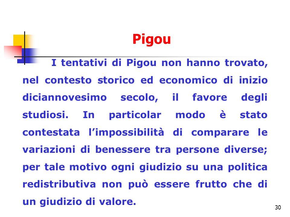 30 I tentativi di Pigou non hanno trovato, nel contesto storico ed economico di inizio diciannovesimo secolo, il favore degli studiosi. In particolar