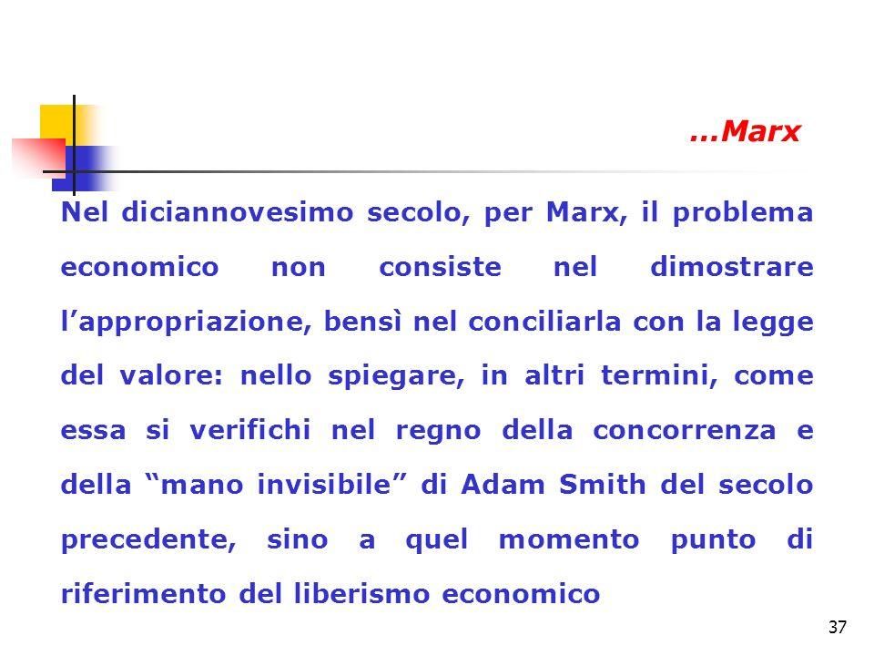 37 Nel diciannovesimo secolo, per Marx, il problema economico non consiste nel dimostrare lappropriazione, bensì nel conciliarla con la legge del valo