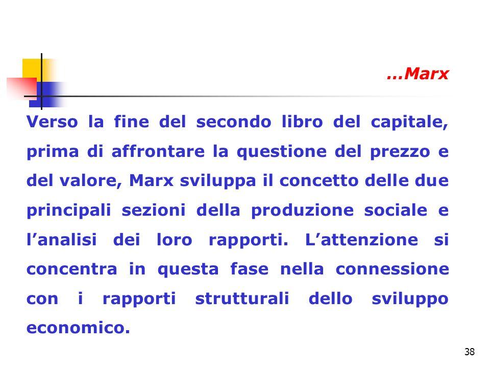 38 Verso la fine del secondo libro del capitale, prima di affrontare la questione del prezzo e del valore, Marx sviluppa il concetto delle due princip