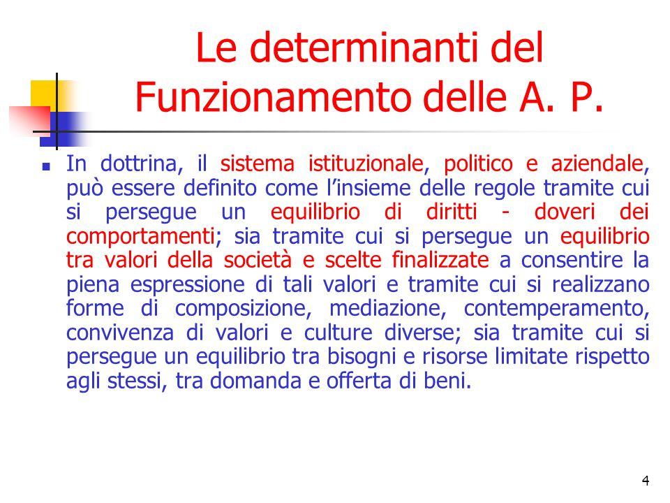 4 Le determinanti del Funzionamento delle A. P. In dottrina, il sistema istituzionale, politico e aziendale, può essere definito come linsieme delle r