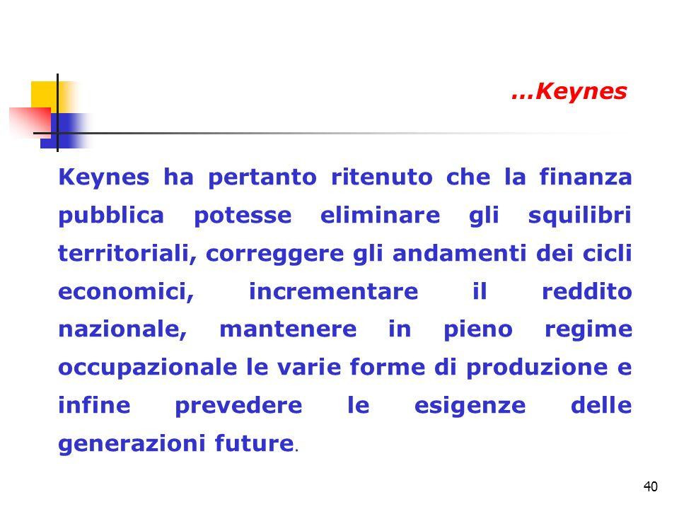 40 Keynes ha pertanto ritenuto che la finanza pubblica potesse eliminare gli squilibri territoriali, correggere gli andamenti dei cicli economici, inc