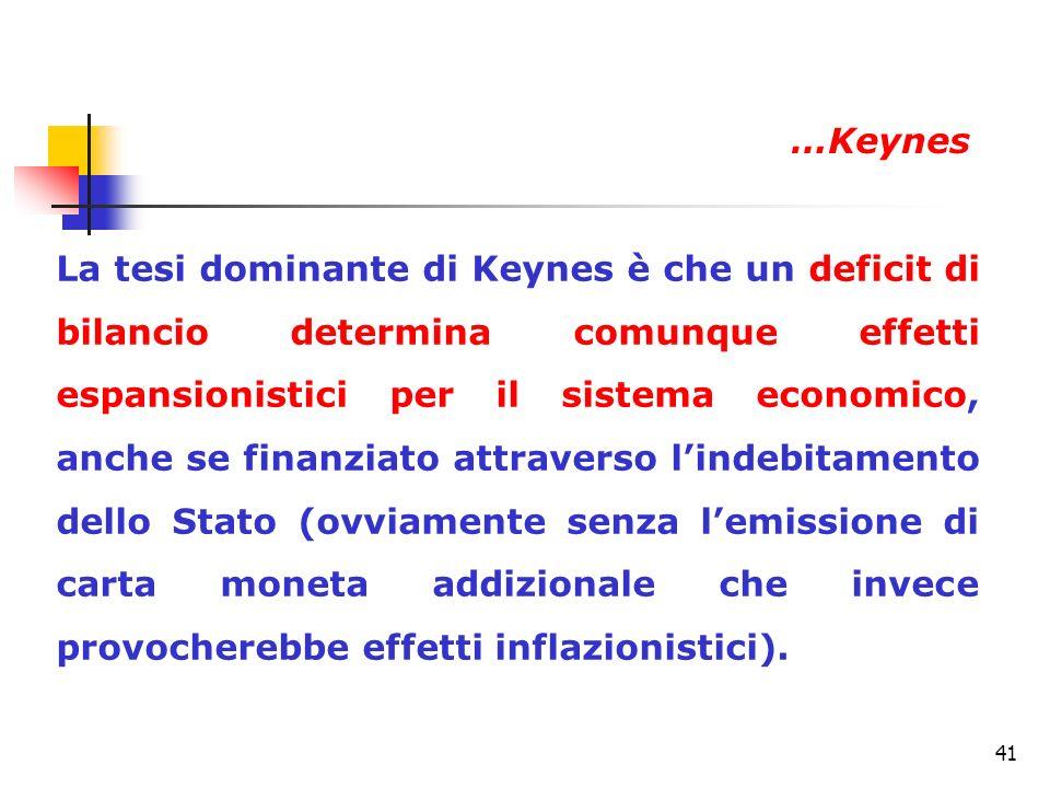 41 La tesi dominante di Keynes è che un deficit di bilancio determina comunque effetti espansionistici per il sistema economico, anche se finanziato a
