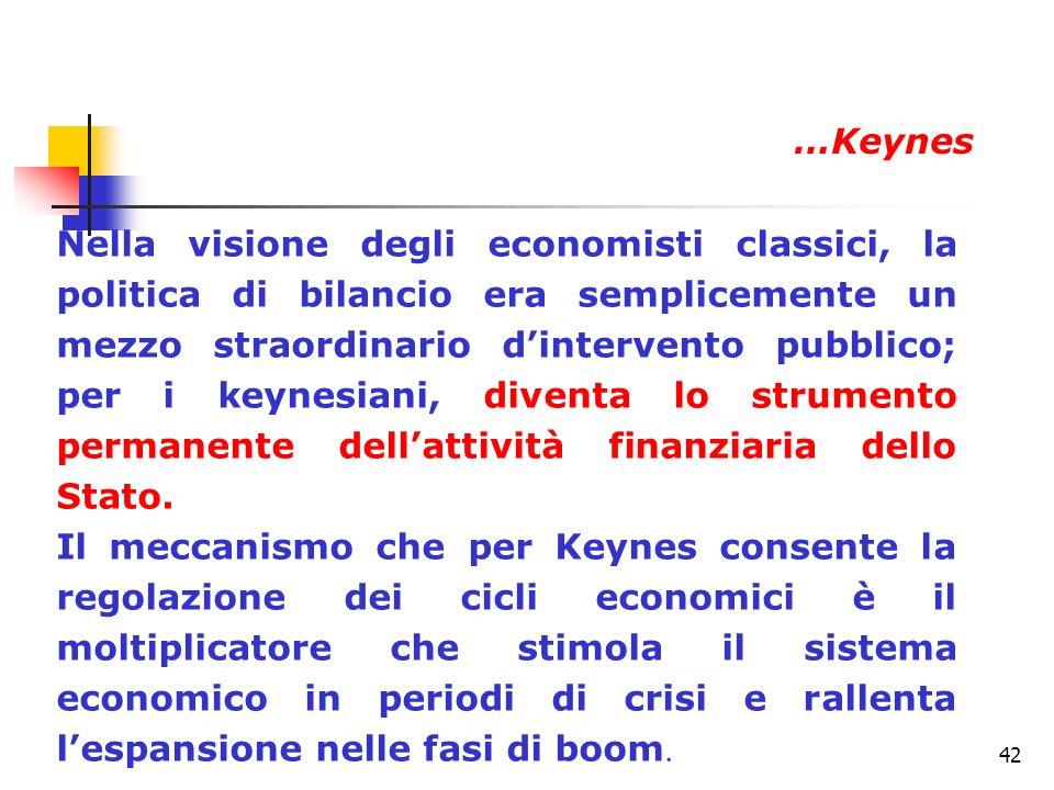 42 Nella visione degli economisti classici, la politica di bilancio era semplicemente un mezzo straordinario dintervento pubblico; per i keynesiani, d