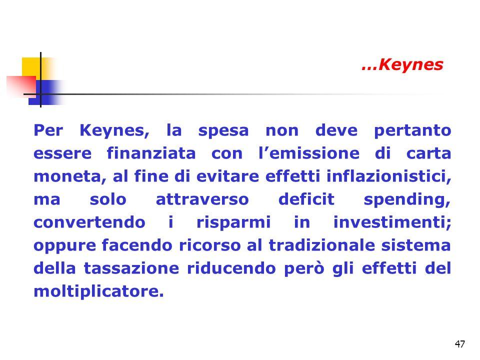47 Per Keynes, la spesa non deve pertanto essere finanziata con lemissione di carta moneta, al fine di evitare effetti inflazionistici, ma solo attrav