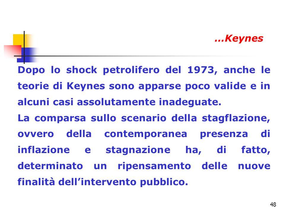 48 Dopo lo shock petrolifero del 1973, anche le teorie di Keynes sono apparse poco valide e in alcuni casi assolutamente inadeguate. La comparsa sullo