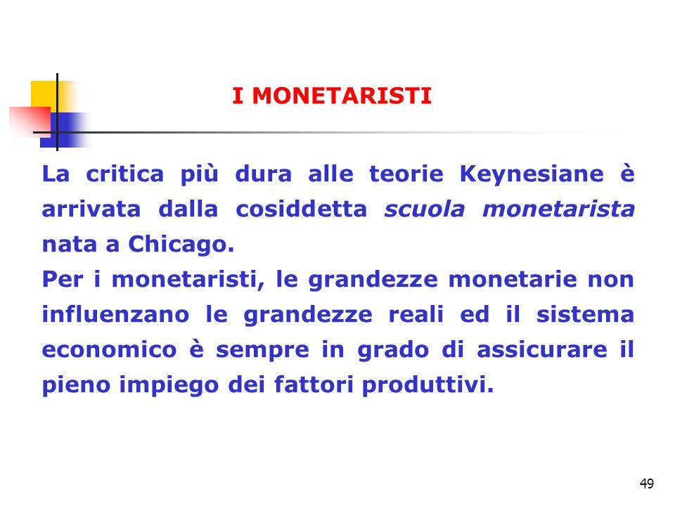49 La critica più dura alle teorie Keynesiane è arrivata dalla cosiddetta scuola monetarista nata a Chicago. Per i monetaristi, le grandezze monetarie