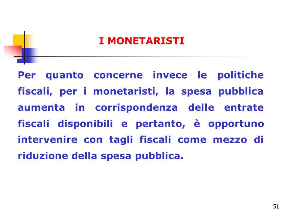 51 Per quanto concerne invece le politiche fiscali, per i monetaristi, la spesa pubblica aumenta in corrispondenza delle entrate fiscali disponibili e
