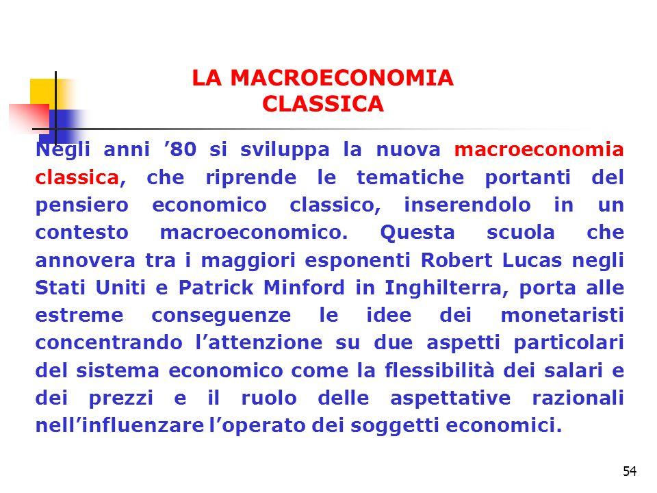 54 Negli anni 80 si sviluppa la nuova macroeconomia classica, che riprende le tematiche portanti del pensiero economico classico, inserendolo in un co