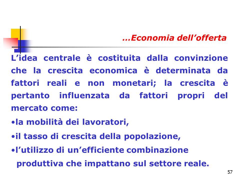 57 Lidea centrale è costituita dalla convinzione che la crescita economica è determinata da fattori reali e non monetari; la crescita è pertanto influ